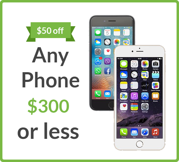 $50 off any phone $300 or less