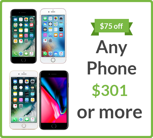$75 off any phone $301 or more