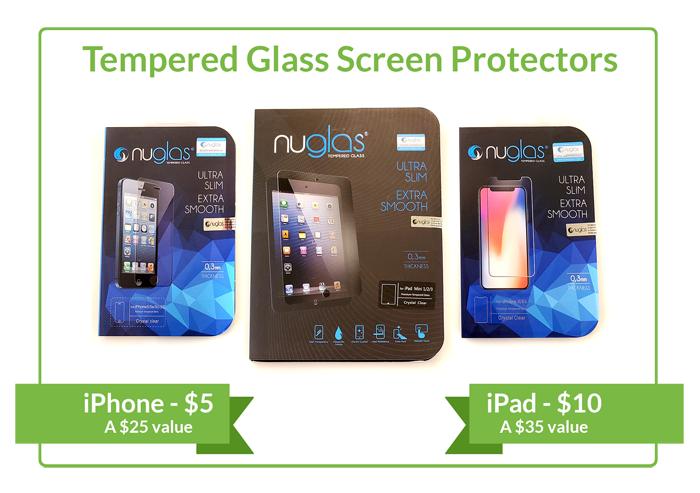 Tempered Glass Screen Protectors, iPhone for $5, iPad for $10
